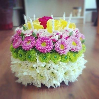 Happy Birthday Flower Cake Bouquet CREAZIONI CON I FIORI ...