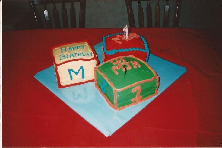first birthday cake....building blocks   First birthday   Pinterest