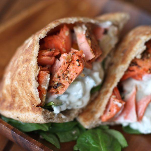 Healthy Broiled Salmon Gyros @Roxy Boyett