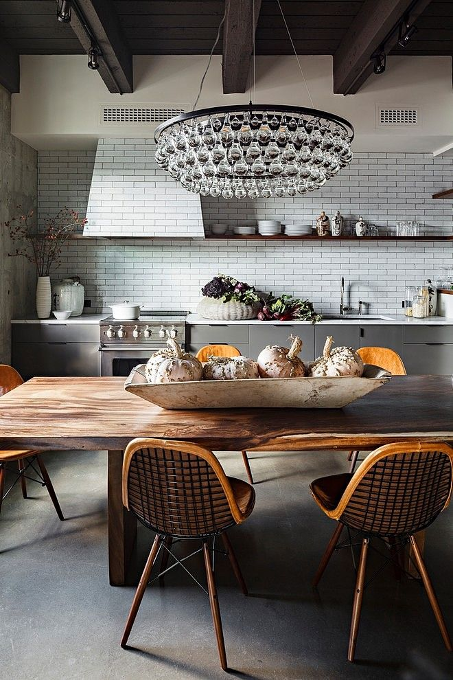 Esprit loft avec murs de briques apparentes  Cuisines