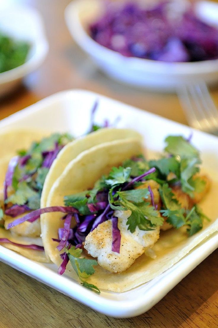 Fish Tacos with a Cilantro Sauce | Yummy! | Pinterest