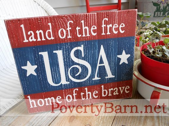 Usa land of the free home of the brave reclaimed pallet wood art sign