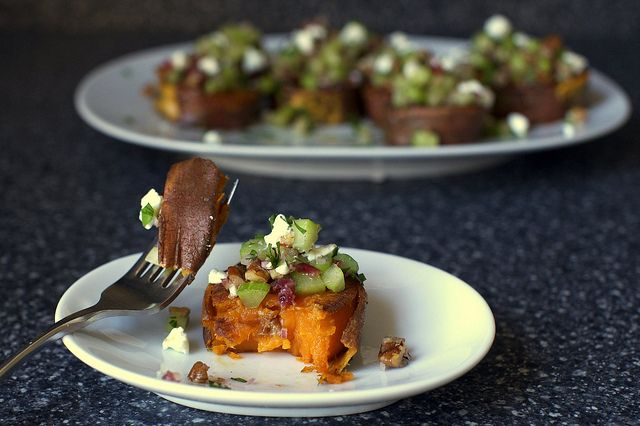 sweet potatoes with pecans and goat cheese