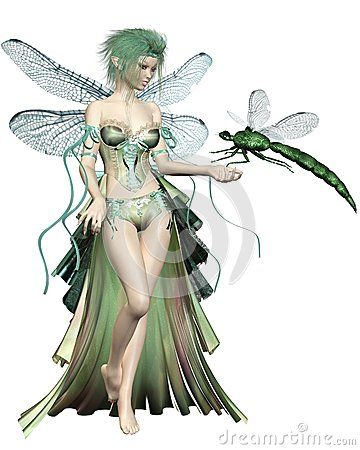 Green Dragonfly Fairy by Algol, via Dreamstime