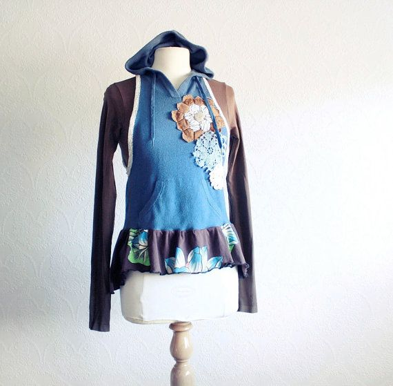 Blue Hooded Vest Upcycled Hoodie Bohemian Clothes Women's Brown Top