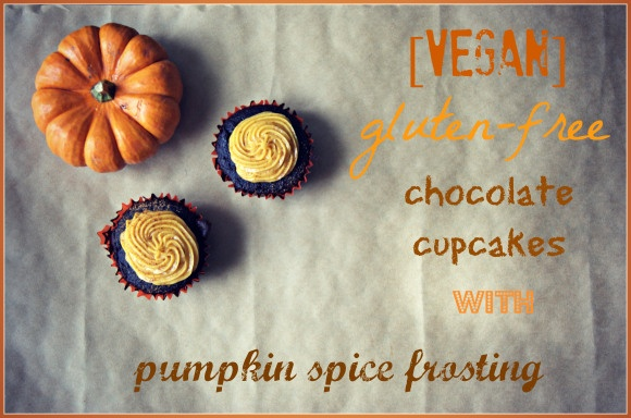 Gluten-Free Chocolate Cupcakes with Pumpkin Spice Frosting.