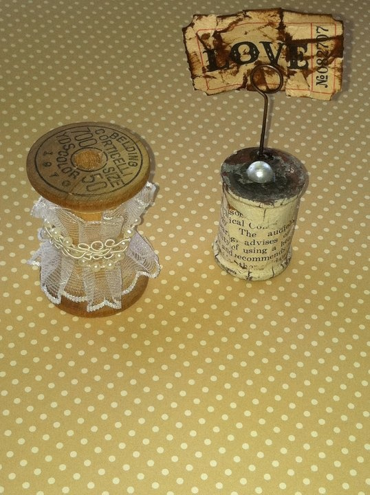 Vintage wooden spools I decorated