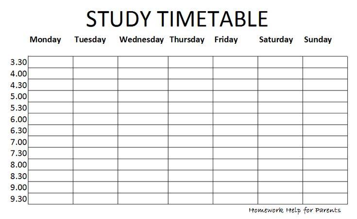 Timetable Study – Printable Editable Blank