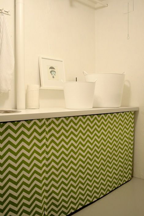 Laundry Sink With Cover : curtained counter using IKEAs Antonius system for support and an IKEA ...