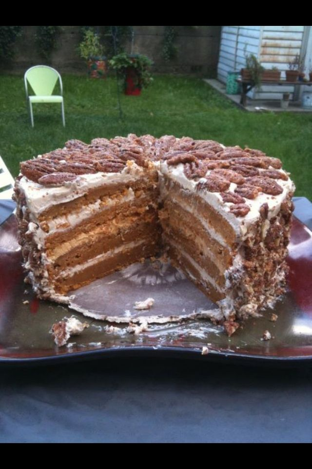 Sweet potato cake with cream cheese frosting, salted caramel frosting ...
