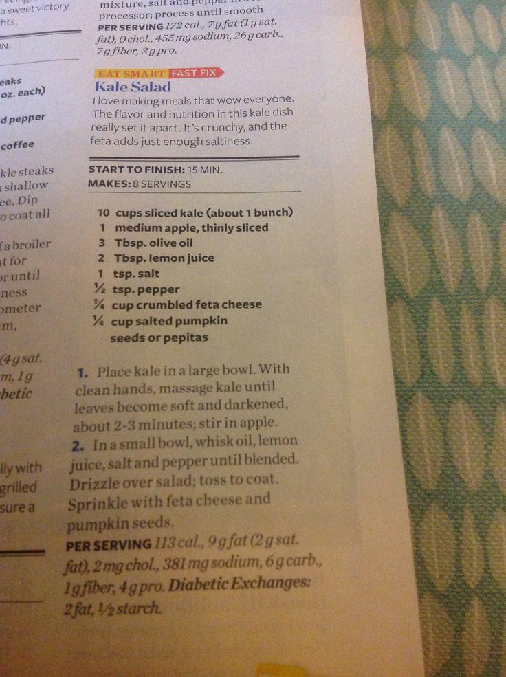 Kale salad with Apple and Feta | food & drinks! | Pinterest
