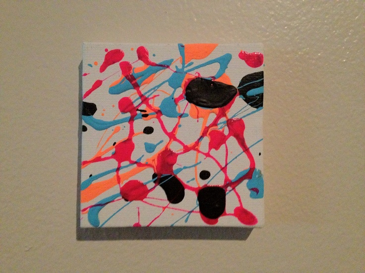 Mini Acrylic Canvas Painting, Abstract Splatter in Blue, Orange, Pink and Black, Original. $10.00, via Etsy.