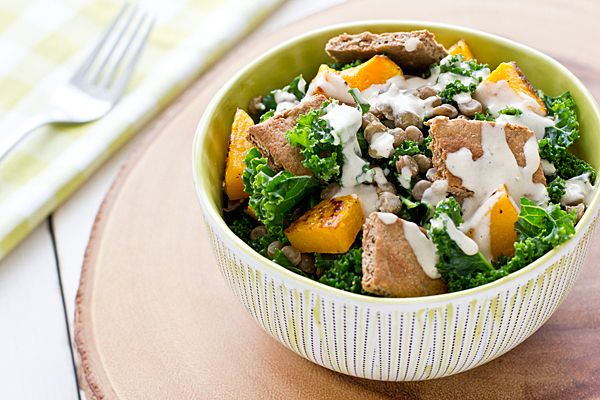Butternut Squash, Lentil & Kale Salad with Tahini Dressing | Recipe