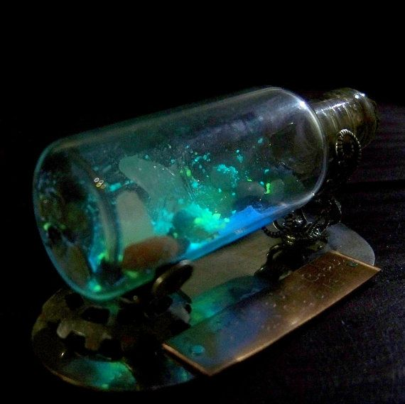 Magic Cave in a Bottle. Not a tutorial, just inspiration. It might be fun to try this with some pretty crystals, glow in the dark paint, and other little magical decorations.