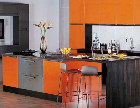Orange Kitchen Interior  Kitchen Designs  Pinterest