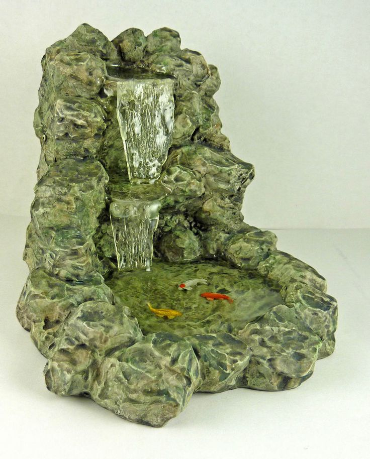 Dollhouse miniature resin stony waterfall with fish pond for Miniature fish pond