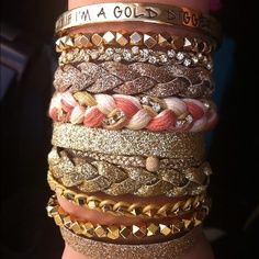 Love the stacked bracelets...so on trend!