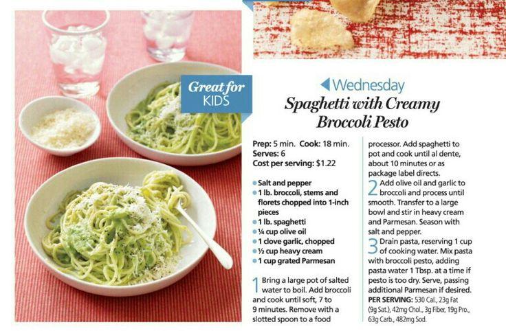 Spaghetti with creamy broccoli pesto | Recipes | Pinterest