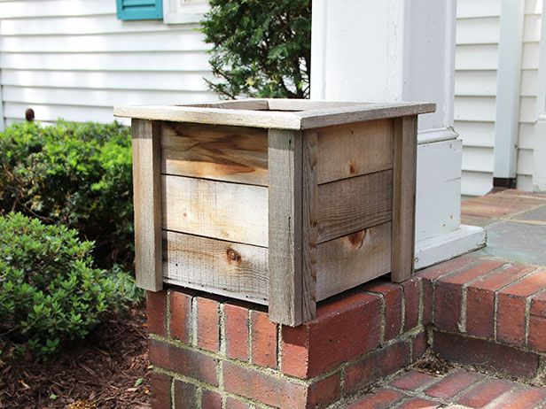 give a weathered wooden planter a pretty facelift diy network