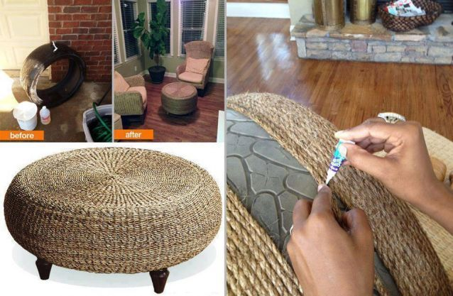 DIY Funiture: Hemp or jute ottoman from an upcycled tire - brilliant!