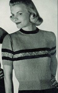 Cable striped blouse pattern