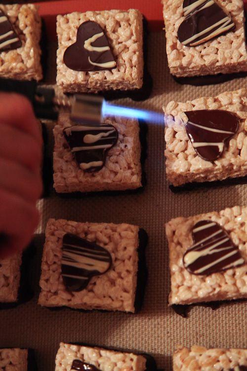 ... Valentine's Day Bourbon Caramel Rice Crispy Treats with Dark