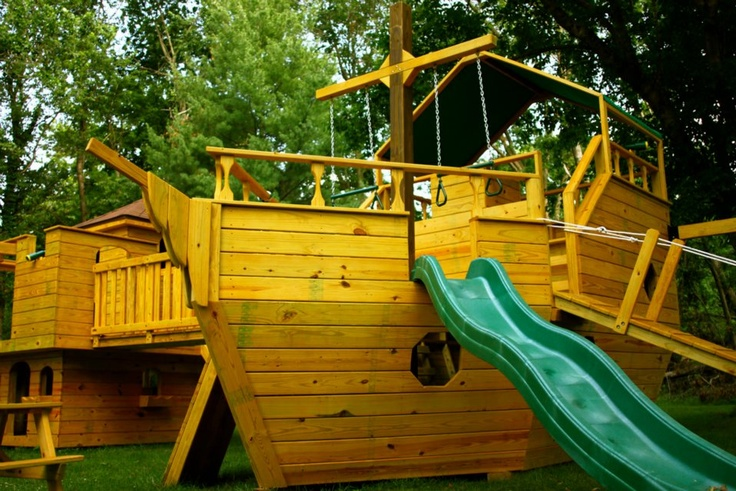 Pin by lois kompass on childrens pirate ship pinterest - Pirate ship wooden playground ...
