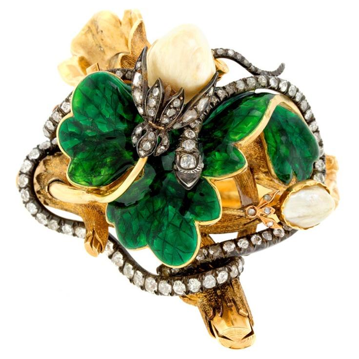 1stdibs | Naturalistic Diamond-Set Enamel Bracelet