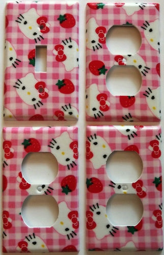 Hello kitty light switch outlet plate girls bedroom wall decor for