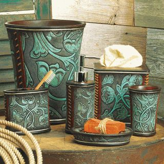 Floral Tooled Turquoise Bath Accessories Western Pinterest