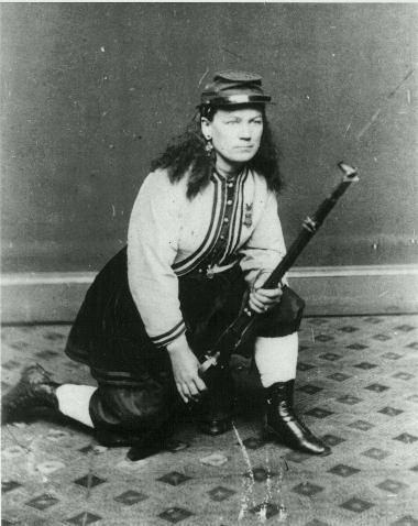 Kady Brownell enlisted with her husband in the 1st Rhode Island Infantry Volunteers the day after Fort Sumter fell. She fought openly alongside her husband in several battles, including the first Battle of Bull Run. At the end of their 3-month enlistment, Kady and her husband re-enlisted in the 5th RI Infantry. Robert was wounded in the battle at New Bern, North Carolina, and the Brownells were transferred to New York while Robert recuperated. Both were discharged in the winter of 1863.