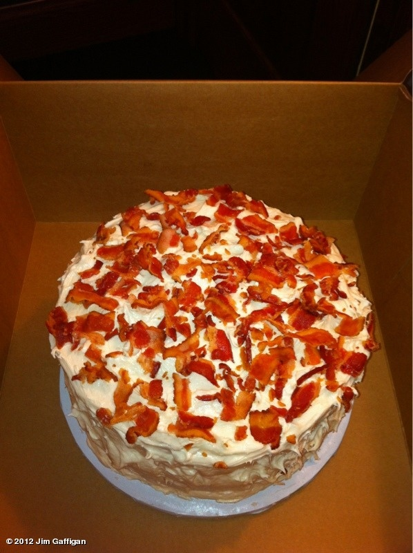 Bacon loaded cake. Now you can have your cake and eat it for breakfast ...