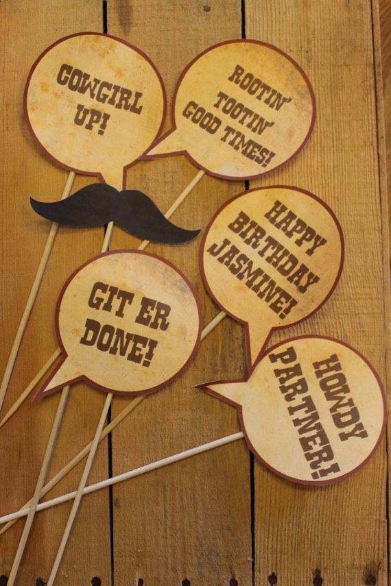 Rustic cowboy western themed photobooth props 12 00 via etsy