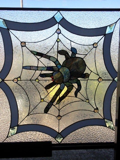 Stained Glass Spider Web Design Glass Decorative Panel