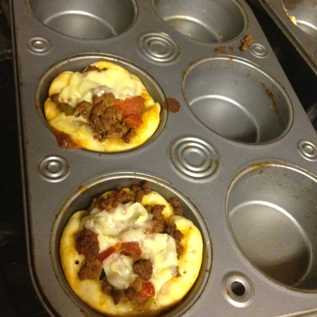 Taco Cups: 5 Grands biscuits peeled in 1/2, put in greased muffin tins ...