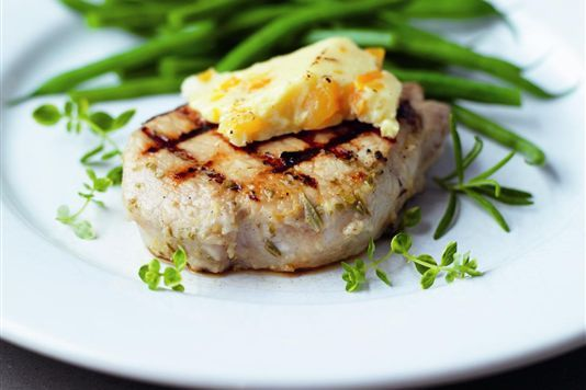 Char-grilled pork with Wensleydale and apricots recipe
