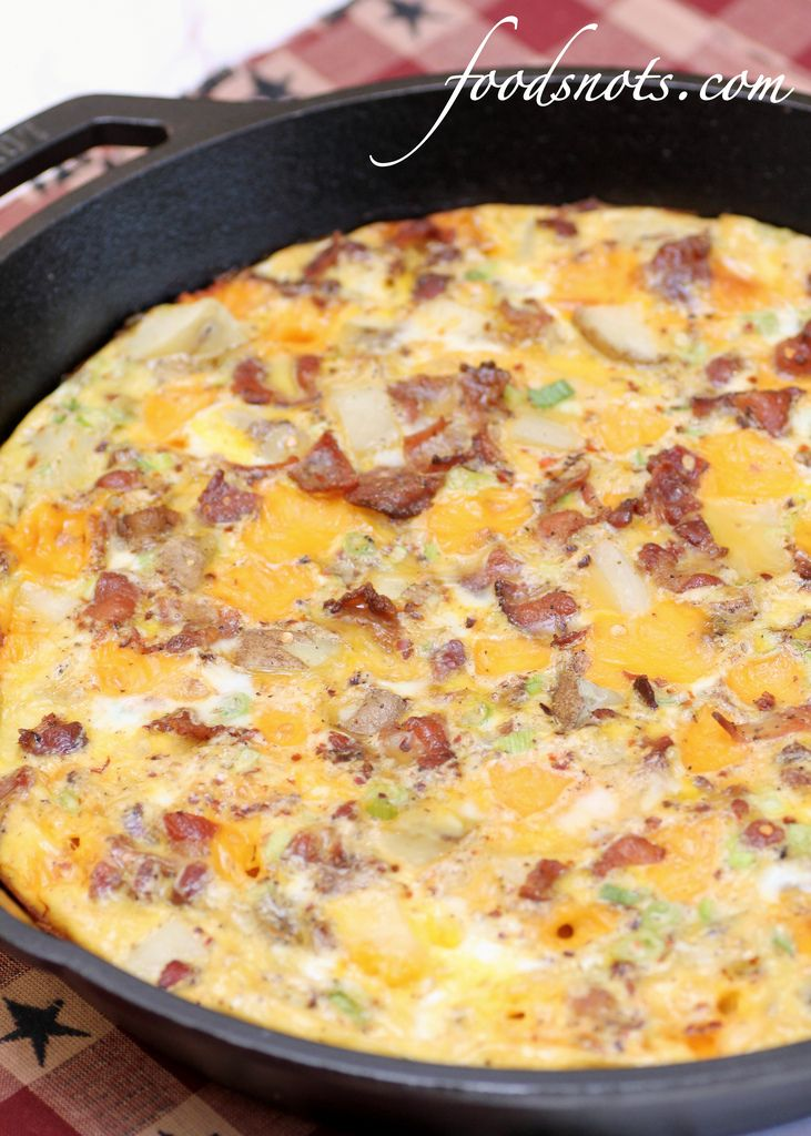 Frittata With Canadian Bacon, Green Onions, And Cheese Recipe ...
