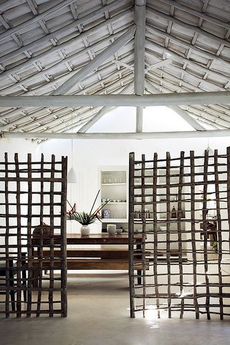 Seu Irenio, UXUA Casa Hotel. Although it is not a trellis, it is a great trellis idea. For more innovative gardening ideas, see book, Shamanic Gardening: Timeless Techniques for the Modern Sustainable Garden