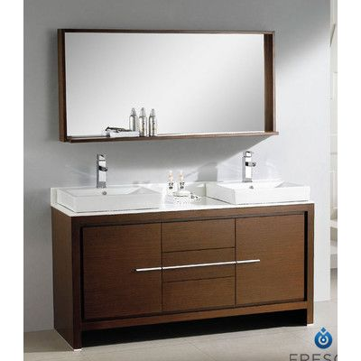 Modern double sink bathroom vanity set with mirror amp reviews wayfair