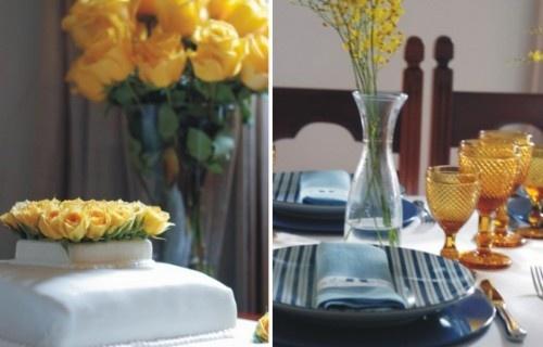 decoracao azul e amarelo noivado:Noivado