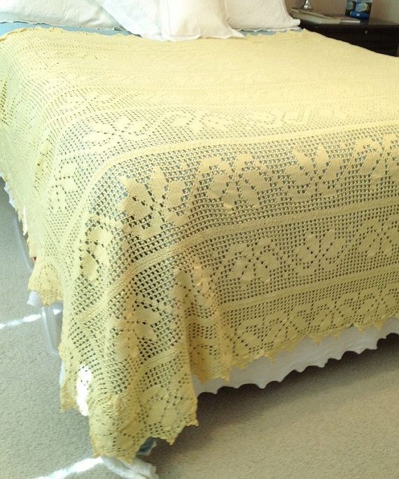 Crochet Bedspread : Wonderful Vintage Yellow Crocheted Bedspread by esmeelynne on Etsy, $ ...