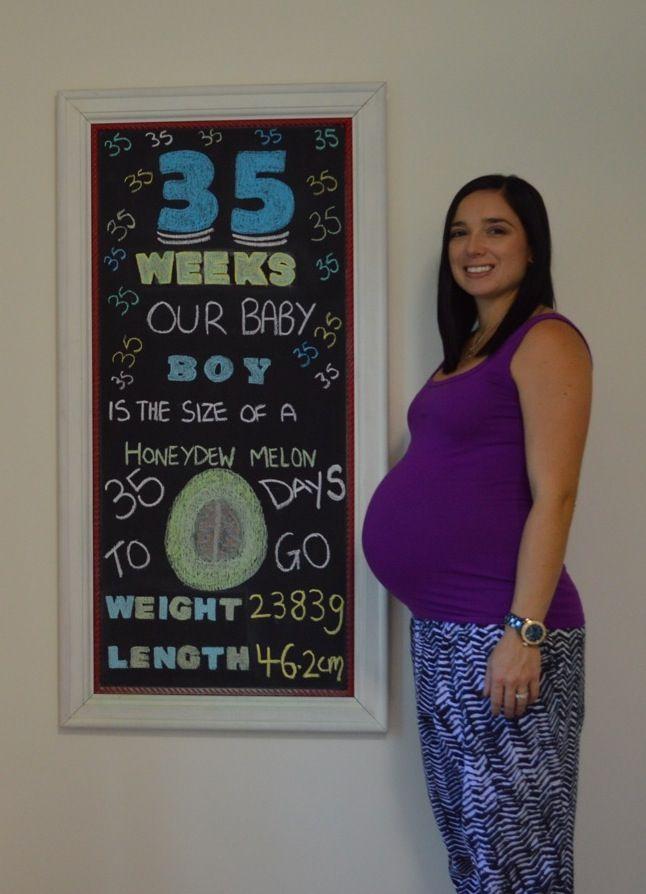 35 weeks pregnant   Pregnancy chalkboard   Pinterest