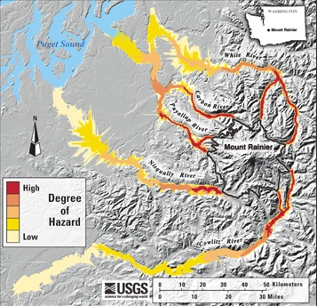 Mt Rainier Hazard From Lahar Flow Map Environment
