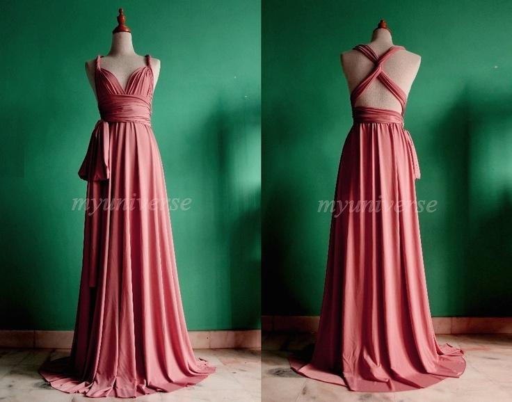 Prom dress bridesmaid dress dark pink maxi dress wedding dress wrap