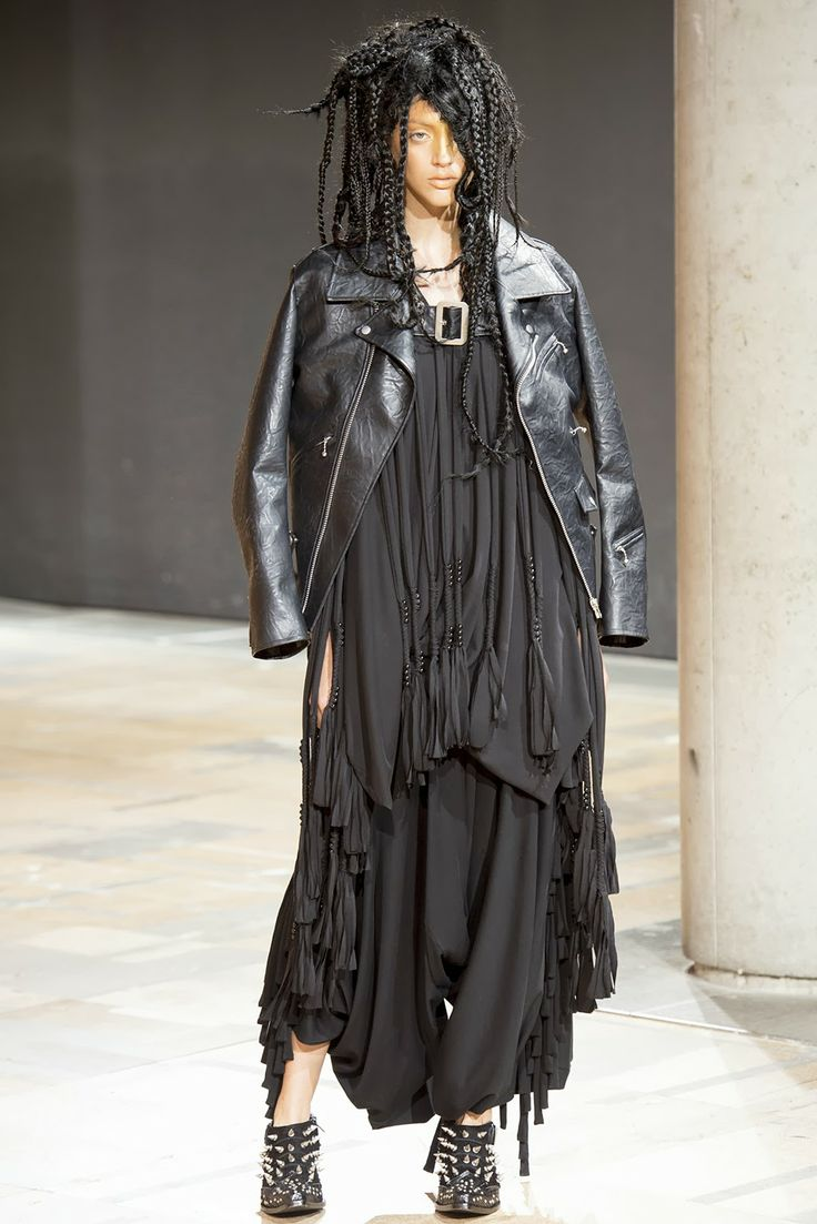 JUNYA WATANABE COMME DES GARCONS jet black leather cape jacket image 2