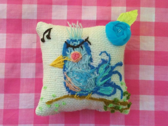 Fancy Little Bluebird Mini Pillow Ready To Ship by YelliKelli, $20.00