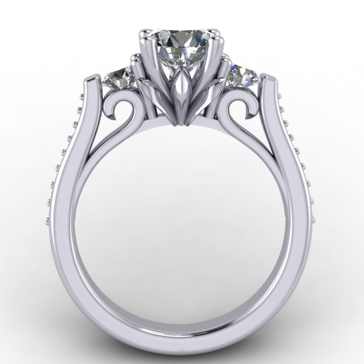 14k white gold engagement ring with sapphire