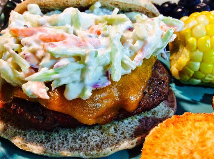 Buffalo Turkey Burgers with Blue Cheese Broccoli Slaw