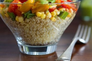 Warm Quinoa Salad with 3-Herb Green Sauce | Quinoa recipes | Pinterest