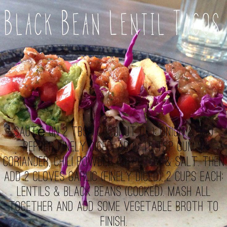 Black Bean Lentil Tacos: Filling: Sauté in 2 tbsp coconut oil the ...